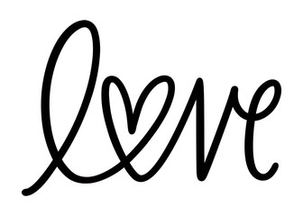 Poster Positive Typography kbecca_love_heart_handwritten_vector_word