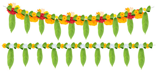 Indian flower garland of mango leaves and marigold flowers. Ugadi holiday ornate decoration