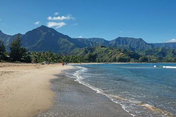 Beachgoers at Hanalei Bay, Kauai