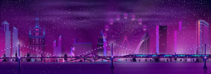 Canvas Prints Violet Metropolis night landscape neon color cartoon vector panoramic urban background. Illuminated skyscrapers buildings, Ferris wheel, subway train on bridge in foggy and snowy winter weather illustration