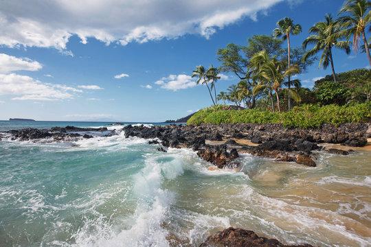 Crashing Waves in Tropical Beach (Makena Cove, Maui HI)