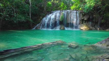 Wall Mural - Erawan waterfall in Kanchanaburi, Thailand. Beautiful waterfall with emerald pool in nature.