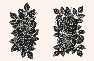 Rose silhouette ornament vector by hand drawing.Beautiful flower on brown background.Blaze rose vector art highly detailed in line art style.Flower tattoo for paint or pattern.