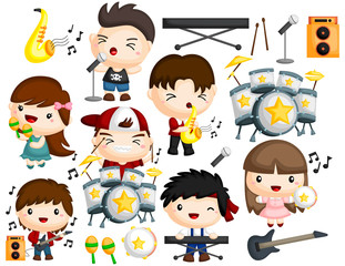 a vector collection of many musician with many instrument