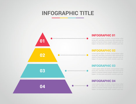 infographic template with pyramid style with free space text for description with 4 four step process with text on the right - vector
