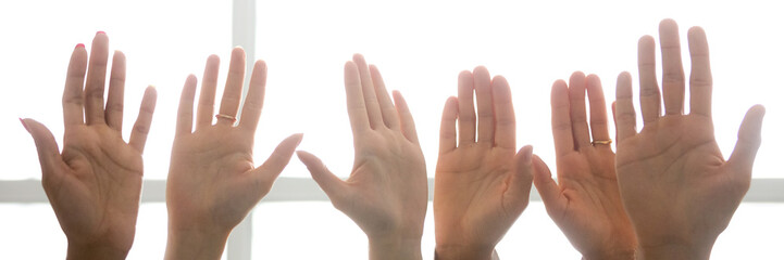 Close up people man woman hands palms raised up in a row. Election voting volunteering choice and unanimous opinion concept. Horizontal photo banner for website header design with copy space for text