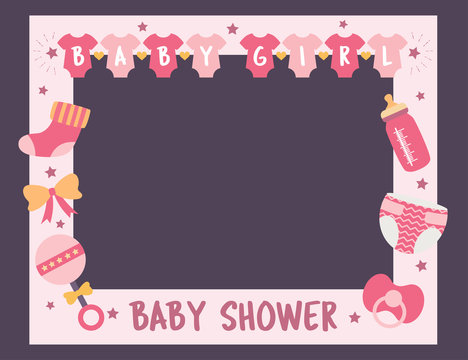 baby shower frame girl photo booth props