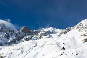 Mont Blanc landscape with snow and cable car panoramic viewpoint -  Courmayeur, Aosta Valley, Italy. The Alps eighth wonder of the world.