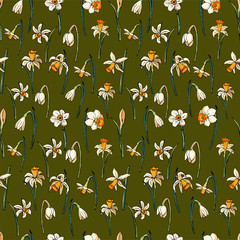 Vector hand-drawn floral pattern with daffodils. Endless texture whit narcissus for your design