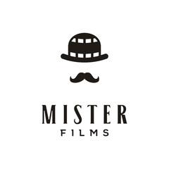 Vintage Bowler Hat with negative film for movie production logo design