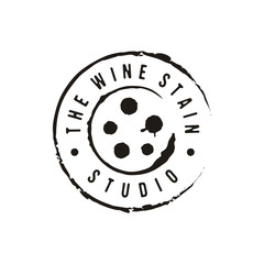 Wine stain stamp with film roll logo design