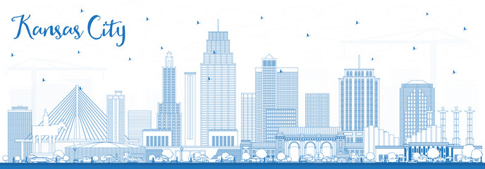 Outline Kansas City Missouri Skyline with Blue Buildings.