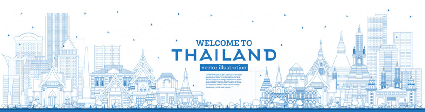 Outline Welcome to Thailand City Skyline with Blue Buildings.