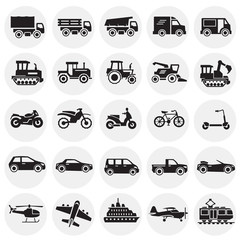 Transportation icons set on color circles background for graphic and web design, Modern simple vector sign. Internet concept. Trendy symbol for website design web button or mobile app