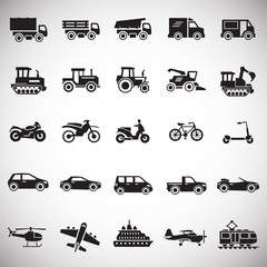 Transportation icons set on white background for graphic and web design, Modern simple vector sign. Internet concept. Trendy symbol for website design web button or mobile app