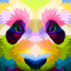 close up of face colorful panda