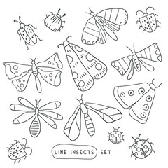 Big line hand drawn doodle set - insects, bugs