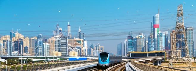 Dubai skyline Lines Metro train