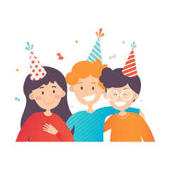 Three happy kids celebrating Birthday, confetti in the air. One girl and two boys in party hats. Flat vector design