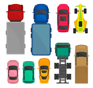 Cars and trucks top view set, city, racing and cargo delivering vehicles, automobiles for transportation vector Illustration