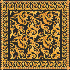 Golden baroque rich luxury vector pattern