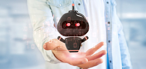 Businessman holding Virus chatbot with binary code 3d rendering