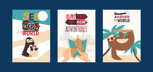 Travelling concept set of cards vector illustration. See the world. Say yes to new adventures. Around the world. Taking photos of animals. Using map. Sloth hanging on tree.