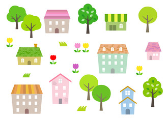 Green Townscape illustration set