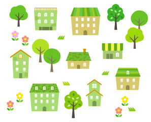 Green Townscape illustration set
