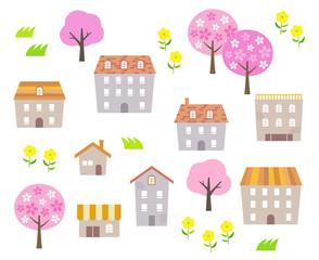 Spring Townscape illustration set