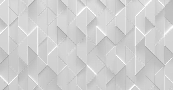 White Zig Zag Futuristic Background (3d illustration)