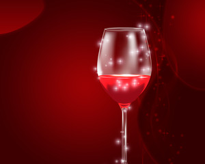 Festive red wine glass