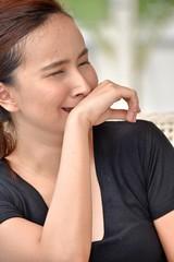 Youthful Diverse Female Under Stress