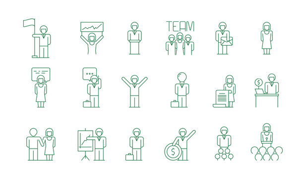 Business group icon. Office work people team meeting freelancer socializing colleague communications vector thin symbols isolated. Office meeting group, business team and teamwork management