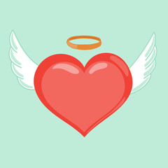 Heart with wings and nimbus. Happy Valentines Day vector illustration. Cute cartoon style illustration. Love inspires concept. Winged hearts, shining nimb. Angel concept, love symbol.