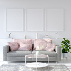 Mock up poster frame in modern home interior. Scandinavian style. 3d render