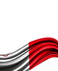 malta flag on cloth isolated on white background