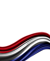 Netherlands flag on cloth isolated on white background