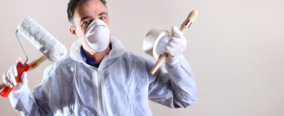 White background with professional painter with working overalls Wall mural