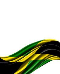 Jamaica flag on cloth isolated on white background