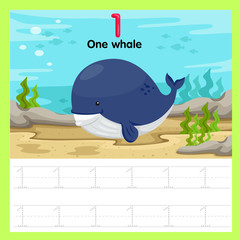 Illustrator of worksheet of one whale