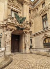 Architectural details of Opera National de Paris. Grand Opera Garnier Palace is famous neo-baroque building in Paris, France - UNESCO World Heritage Site