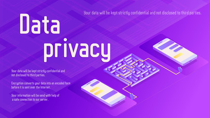 Data privacy security isometric vector illustration with two phones