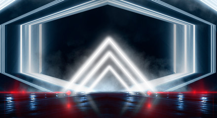 Abstract black tunnel with a light pyramid, neon triangle, smoke, wet asphalt, night view.