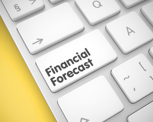 Financial Forecast - Message on White Keyboard Button. 3D.