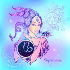 Zodiac sign Capricorn a beautiful girl. Horoscope. Astrology. Vector.