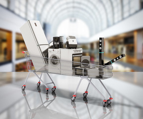 Home appliances in the shopping cart E-commerce or online shopping concept 3d render on sale background
