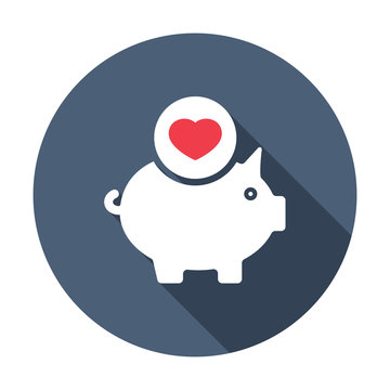 Piggy bank icon, business icon with heart sign. Piggy bank icon and favorite, like, love, care symbol. Vector illustration