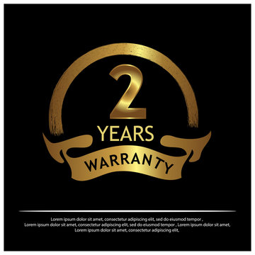 Two year warranty golden label on black background - Vector