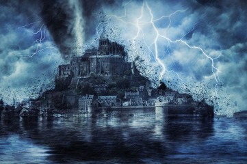 Mont saint michel during the heavy storm, rain and lighting in France. Creative picture.